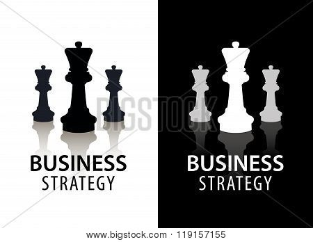 Vector business strategy logo, concept, chess logo. Black and white with reflection.