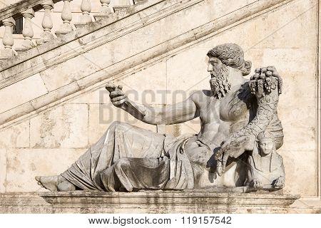 Statue Of A Reclining Figure In Piazza Del Campidoglio In Rome