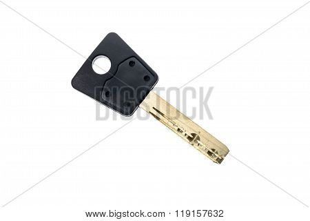 Mechanical Security Anti Theft Burglary Protection Silver Key Isolated On White