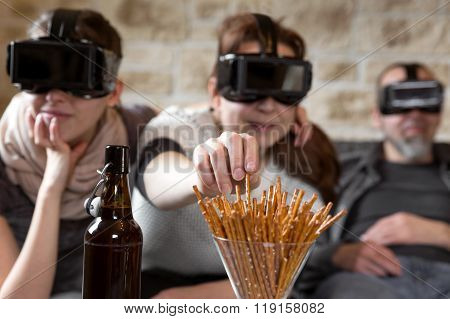 Three Persons With Vr Glasses