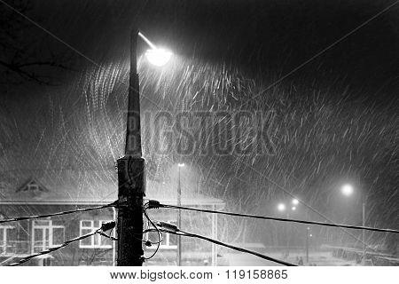 Blizzard, Street Lamp, Night