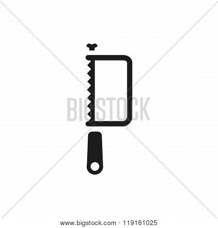Hacksaw tool icon black silhouette with rounded handle isolated on white background