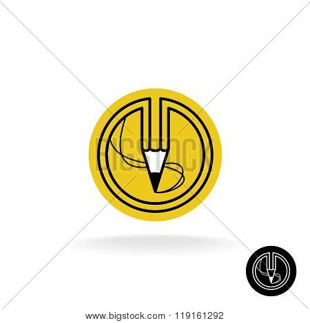 Pencil Logo With Stroke Lines In A Round Badge.