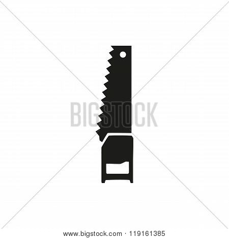 Saw icon. Hand saw isolated symbol. Vector illustration. Tools carpenter repairmen. Sawing. Black icon on white background close-up minimal design.