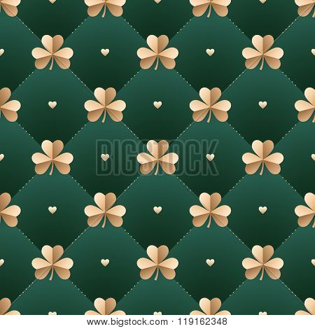 Seamless Irish Gold Pattern With Clover And Heart On A Dark Green Background. Pattern For St. Patric