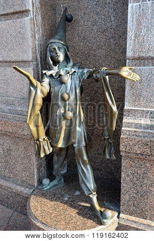 Kiev Ukraine: May, 2015 - Fairy tale sculpture near beautiful freshly renovated puppet theatre, Kiev Ukraine