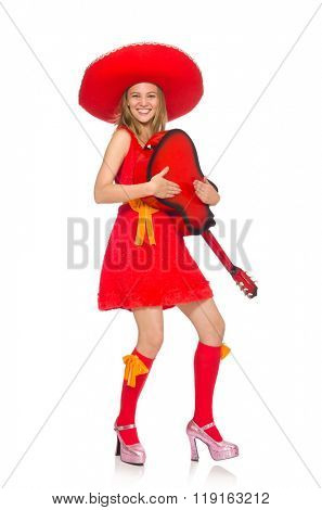 Woman with sombrero playing guitar on white