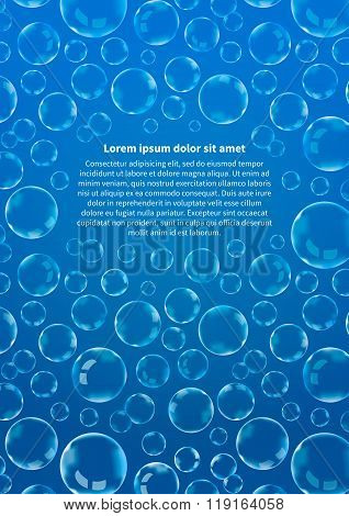 Many soap bubbles on blue, abstract background vertical A4 size