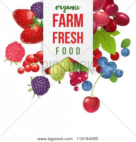farm fresh emblem with berries  on white background