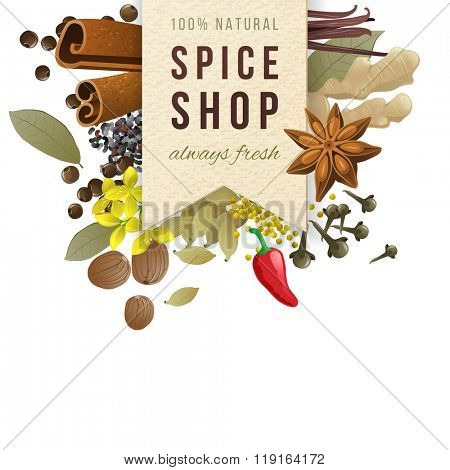 spice shop paper emblem with different spices in vintage style