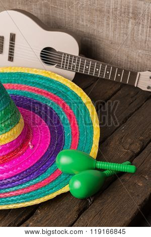Mexican Sombrero On Wood Background