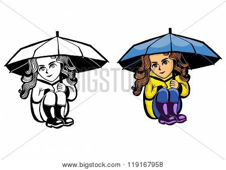 girl sitting under an umbrella