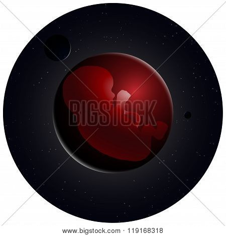 vector illustration of embryo, germ design, baby, fetus concept, nucleus, life, embryo in space, sun