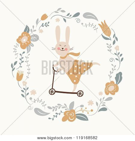 cute bunny rides by cycle