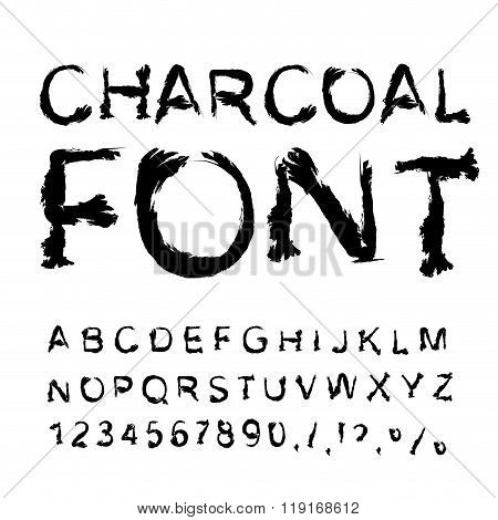Charcoal Font. Letters From Charcoal. Black Tattered Alphabet. Imitate Shapes Of Letters Trace Piece