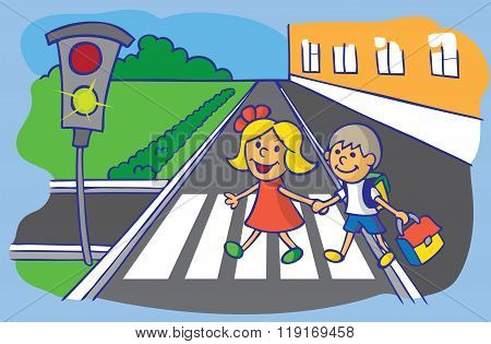 Schoolchild Crossing At Pedestrian Crossing