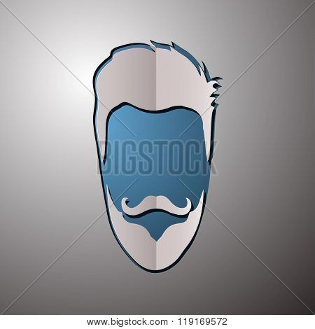 vector illustration of fashion silhouette hipster style. Beard design. Beard cut paper. Beard logo.