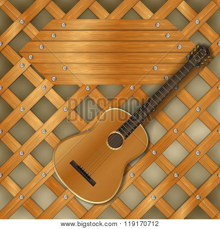 Background Pattern With Planks And Guitar