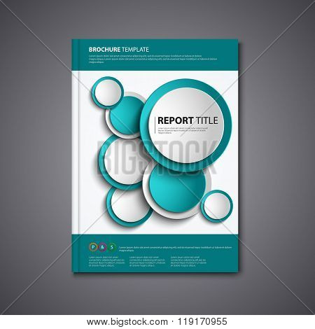 Brochures Book Or Flyer With Abstract Blue Circles Template