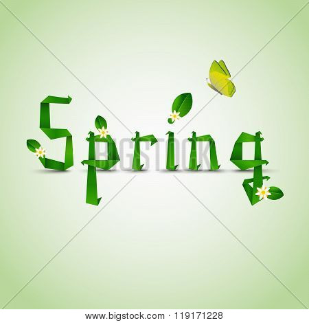 Spring Card With Folded Letters Leaves And Flowers