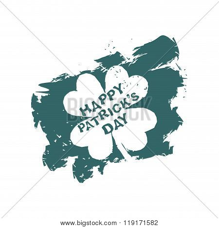 Patricks Day Clover Grunge Style. Trace Of Brush. Logo Template For National Holiday. Four Leaf Clov