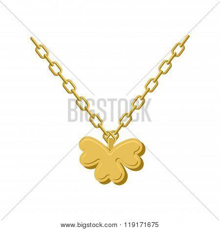 Pendant Of Golden Clover. Gold Chain And Pendant Symbol Of St. Patricks Day. Logo For Lucky Winner.