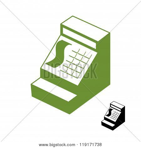 Cashier Symbol. Cash Register Sign. Accounting Money In Store. Sign In One Color. Machine Counting M