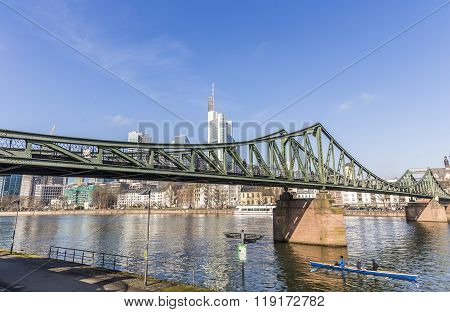Rowboat At Famous Eiserner Steg In Frankfurt, Germany