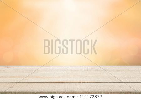Wood Table Top Panel On Orange Background