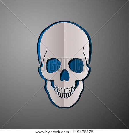 vector illustration of skull, cut paper skull, skull design, scull concept