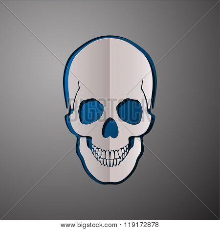 vector illustration of skull, cut paper skull, skull design, scull concept