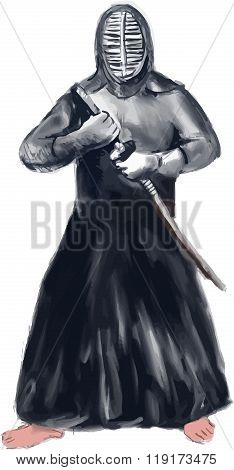 Watercolor style illustration of a Kendo kend?ka swordsman a modern Japanese martial art using bamboo sword shinai and protective armour b?gu in fighting stance facing front set on isolated white background.