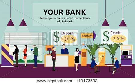Horizontal vector banner with bank interiors. Finance and money concept. Flat cartoon illustration