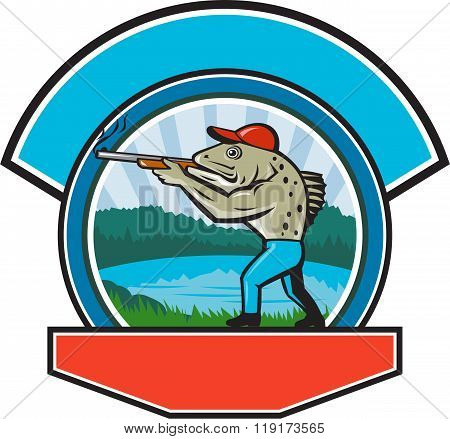 Sea Trout Hunter Shooting Circle Retro