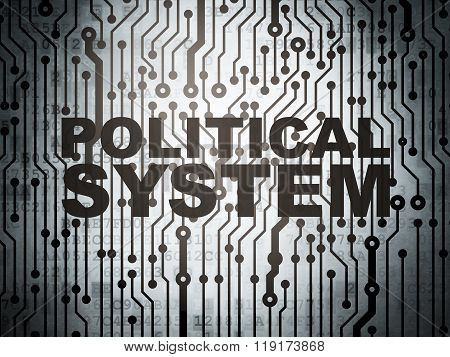 Politics concept: circuit board with Political System