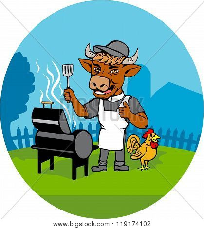 Clergy Cow Minister Barbecue Chef Rooster Caricature