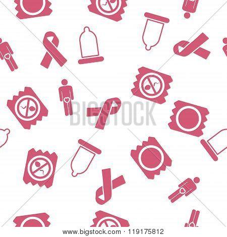 Contraception Seamless Seamless Flat Glyph Pattern