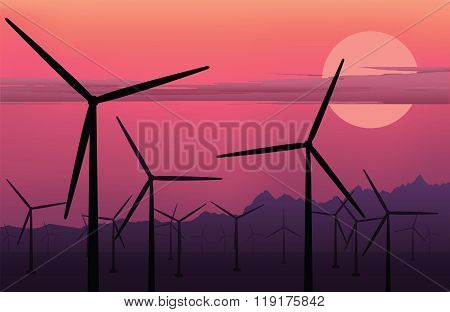 vector horizontal illustration of electric windmill. Wind energy. Clean energy background.  Windmill