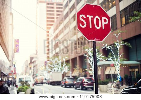 Stop sign on the street of New York City.