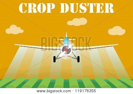 Crop duster airplane spraying a farm field. Vector illustration.