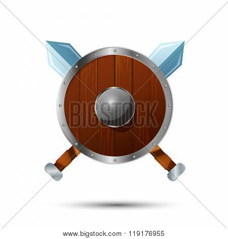 Round wooden shield with crossed swords