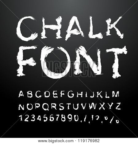 Chalk Font. Alphabet Written In White Chalk. Letters With Ice From Chalk. Handwriting Alphabet. Chal