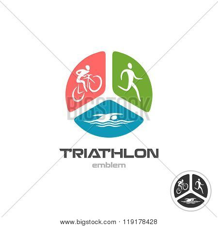 Triathlon Sport Logo. Cyclist, Running And Swimming Man Silhouettes.