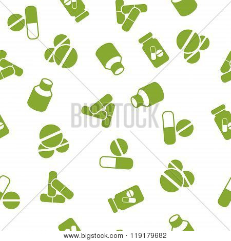 Medical Tablets Seamless Seamless Flat Glyph Pattern
