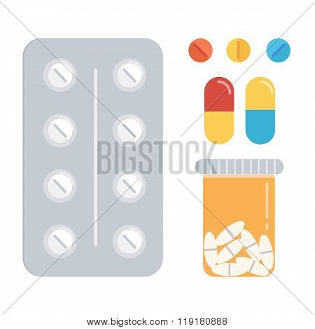 Flat design pills set. Different kind of pills isolated on white background.