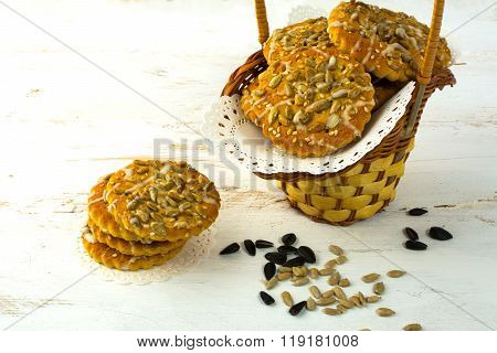 Homemade Cookies With Sunflower Seeds