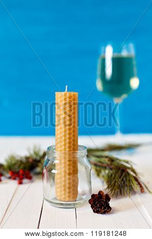 The candle made of beeswax comb for meditation