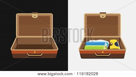 Packed and empty suitcases for summer holiday - vector isolated illustration