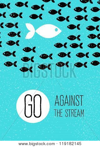 fish swims against the stream. Creative blue flat poster.