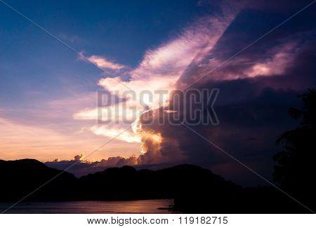 Evening Scene Darkening Heavens